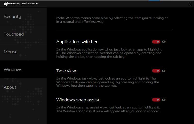 Windows Interaction features for Predator – Tobii Eye